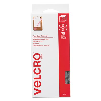 """VELCRO USA Inc Sticky-Back Hook and Loop Fasteners, 5/8"""" Diameter, 75/Pack"""