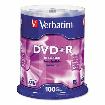 Verbatim Corporation Spindle Dvd+R Discs, 4.7Gb, 16X, Spindle, 100/Pack