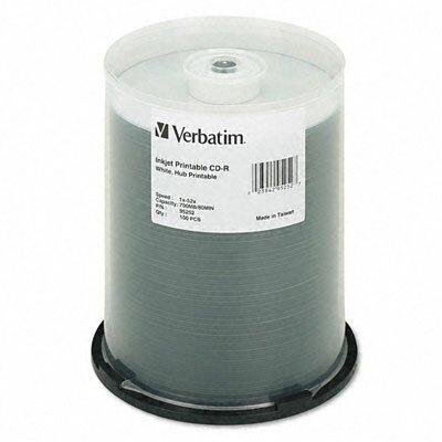 Verbatim Corporation Hub Inkjet Printable Cd-R Discs, 700Mb/80Min, 52X, 25/Pack