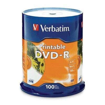 Verbatim Corporation DVD-R, 16x, 4.7GB, Inkjet Printable, 100 per Pack, White