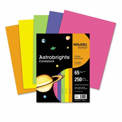 Wausau Papers Astrobrights Colored Card Stock, 65 Lbs., 8-1/2 X 11, 250 Sheets