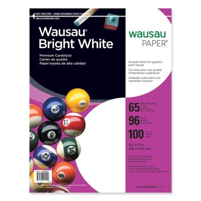 """Wausau Papers Cardstock Paper, 65 lb., 8-1/2""""x11"""", 100 per Pack, White"""
