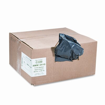 Webster Industries ReClaim Can Liners, 7-10 Gallon, .65mil, 24 x 23, Black, 500/Carton