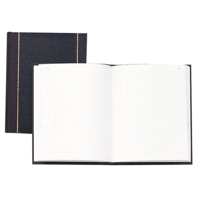 """Wilson Jones Record Book, Record-Ruled, 150 Pages, 10-5/8""""x8-1/4"""", Black"""
