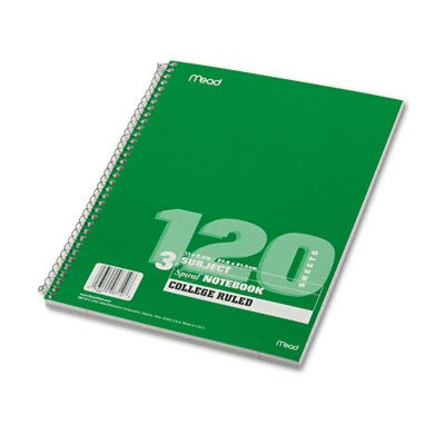 Mead Spiral Bound Notebook, College Rule, 8-1/2 X 11, 120 Sheets/Pad