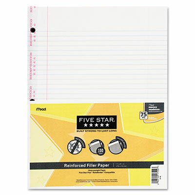 Mead Reinforced Filler Paper, 20-Lb., College-Ruled, 11 X 8-1/2, 100 Sheets/Pack