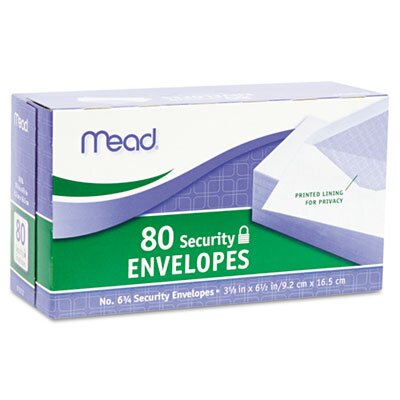 Mead Security Envelope, 3 5/8 X 6 1/2, 20 Lb, 80/Box