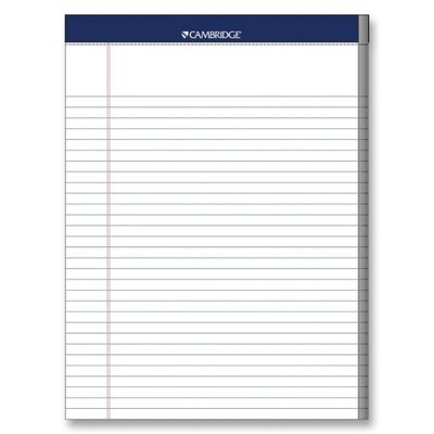 """Mead Legal Pad, College Rule, 70 Sheets, 8-1/2""""x11"""", White, 3 Hole Punched"""