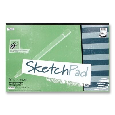 """Mead Sketch Pad, Medium Weight, 18""""x12"""", 50 Sheets, White"""