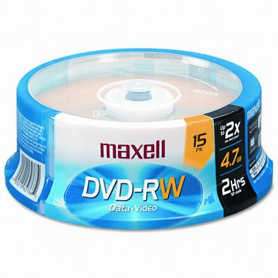 Maxell Corp. Of America Spindle Dvd-Rw Discs, 4.7Gb, 2X, 15/Pack