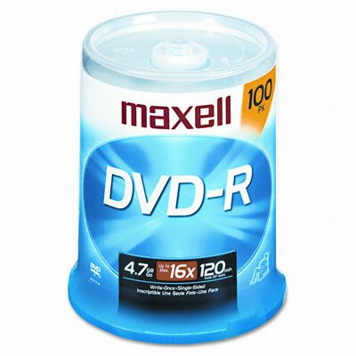Maxell Corp. Of America Spindle Dvd-R Discs, 4.7Gb, 16X, 100/Pack
