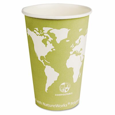 Eco-Products World Art Renewable Resource Compostable Hot Cups, 16 Oz, 1000/Carton