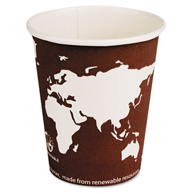 Eco-Products World Art Renewable Resource Compostable Hot Drink Cups, 8 Oz, 1000/Carton