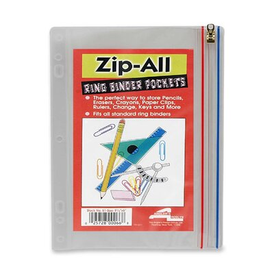 """Anglers Company Ltd. Zip-All Ring Binder Pockets, 10-1/2""""x8"""", Clear"""