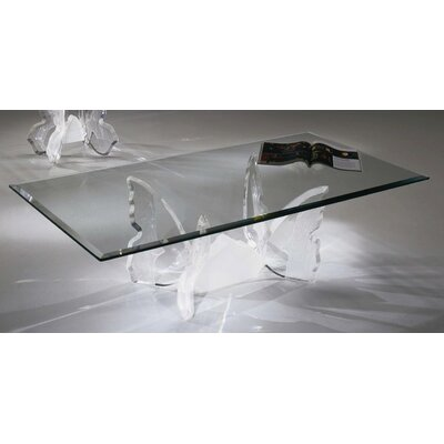 "Shahrooz Butterfly II Coffee Table with 1/2"" Thick Glass"