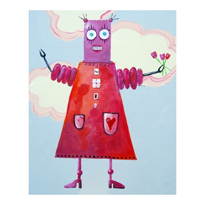 Cici Art Factory Zorba Loves Flowers Robot Canvas Art