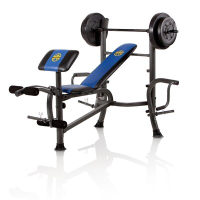 Standard Weight Adjustable Olympic Bench with 80 lbs Weight Set by Marcy