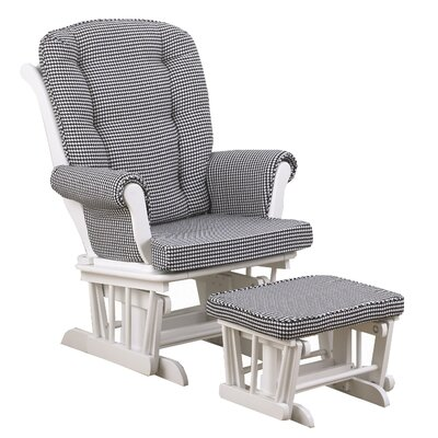 Girly Houndstooth Glider with Ottoman by Cotton Tale