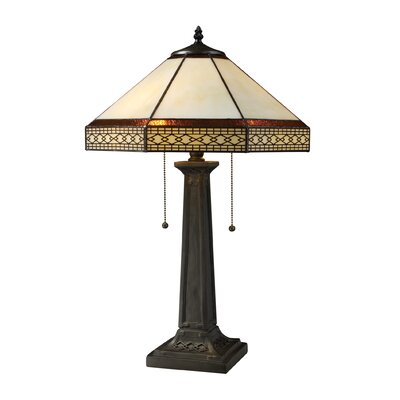 "Dimond Lighting Stone Filigree 24"" H Table Lamp with Empire Shade"