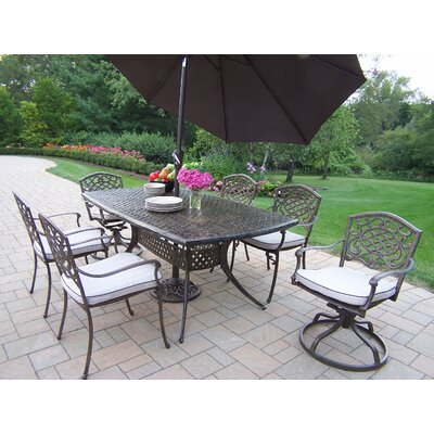 Oakland Living Oxford Mississippi 7 Piece Dining Set with Umbrella
