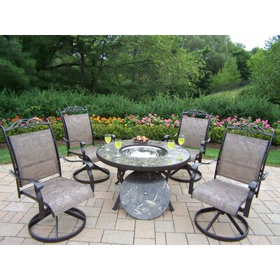 Oakland Living Stone Art 5 Piece Fire Pit Seating Group with Cushion