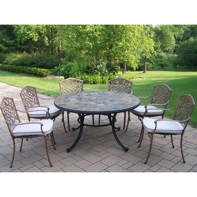 Oakland Living Stone Art 7 Piece Dining Set with Cushions
