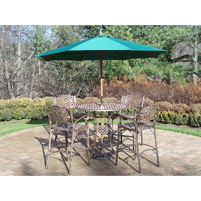 Oakland Living Elite 5 Piece Bar Set with Umbrella