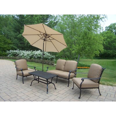 Hampton Aluminum 5 Piece Deep Seating Group with Cushions by Oakland Living