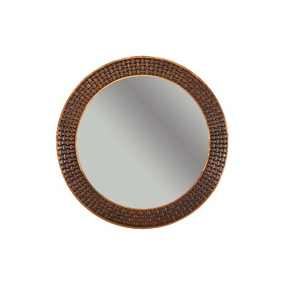 Braided Hand Hammered Round Copper Mirror by Premier Copper Products