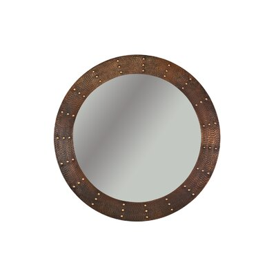 Riveted Hand Hammered Round Copper Mirror by Premier Copper Products