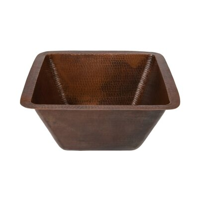 Square Hammered Copper Bathroom Sink by Premier Copper Products