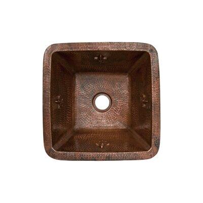 """Fleur De Lis 15"""" x 15"""" Square Copper Bar Sink Product Photo"""