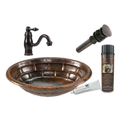 Stacked Stone Oval Self Rimming Sink with Single Handle Faucet and Drain by Premier Copper ...