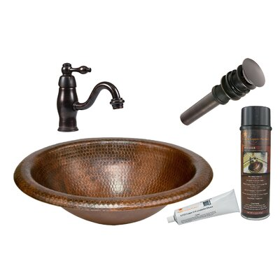 Wide Rim Oval Self Rimming Sink with Single Handle Faucet and Drain by Premier Copper ...