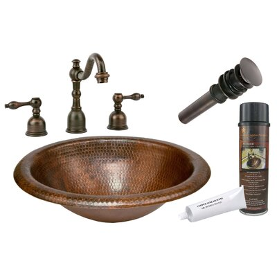 Wide Rim Self Rimming Hammered Bathroom Sink by Premier Copper Products