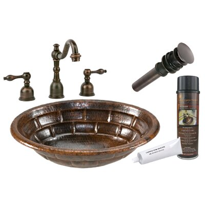 Stacked Stone Self Rimming Hammered Bathroom Sink by Premier Copper Products