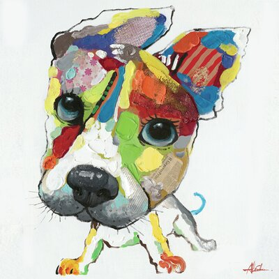 Revealed Artwork Playful Pooch I Painting Print on Wrapped Canvas by Yosemite Home Decor