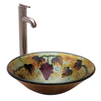 Grape Fruit Round Glass Bathroom Sink by Yosemite Home Decor