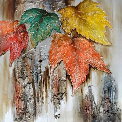 Revealed Artwork Autumn Leaves Original Painting on Wrapped Canvas by Yosemite Home Decor
