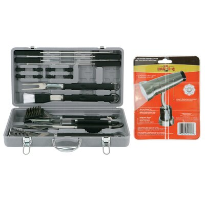 18 Piece Tire Track Case Grilling Tool Set with Magnetic Grill Light by Mr. Bar-B-Q ...