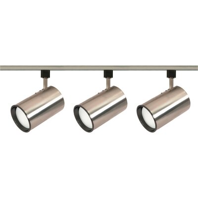Three Light Straight Cylinder Track Light Kit in Brushed Nickel Product Photo