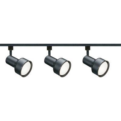Three Light Step Cylinder Track Light Kit in Black Product Photo