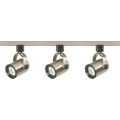Three Light Line Voltage Round Back Track Light Kit in Brushed Nickel Product Photo