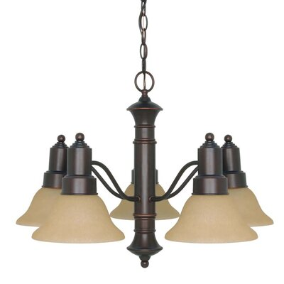 Nuvo Lighting Gotham 5 Light Chandelier with Washed Linen Glass