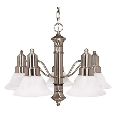 Nuvo Lighting Gotham 5 Light Chandelier with Alabaster Glass