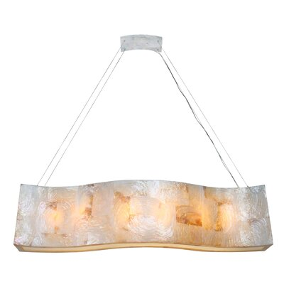 Big Sustainable Shell Linear Six Light Pendant with Kabebe by Varaluz