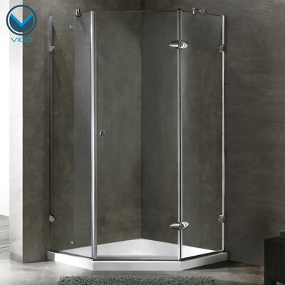 "36.13"" W x 36.13"" D x 76.75"" H Pivot Door Frameless Shower Enclosure with Low-Profile Base Product Photo"