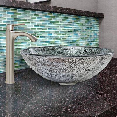Titanium Glass Vessel Bathroom Sink and Linus Faucet Set by Vigo