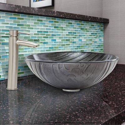 Interspace Glass Vessel Bathroom Sink and Shadow Faucet Set by Vigo
