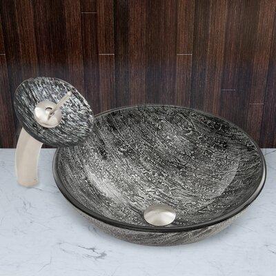 Titanium Glass Vessel Sink and Waterfall Faucet Set by Vigo